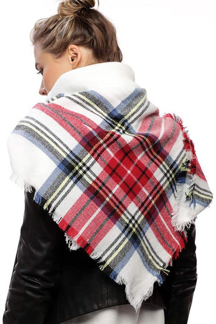 White Plaid Oversized Blanket Scarf