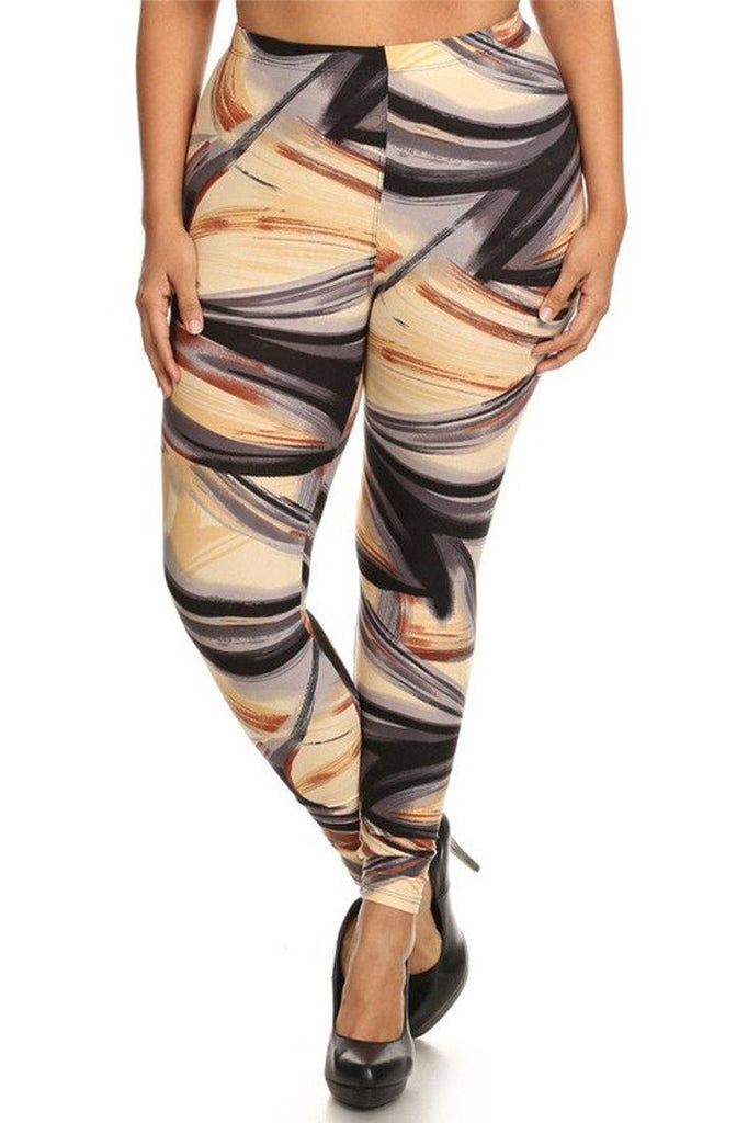 Brushstrokes Design Plus Size Leggings