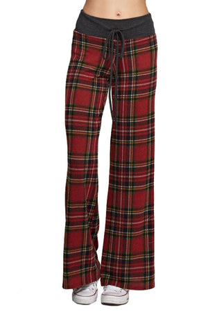 Red Plaid Casual Lounge Pants pants- Niobe Clothing