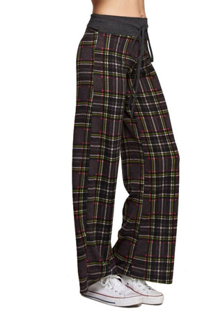 Charcoal Plaid Casual Lounge Pants pants- Niobe Clothing