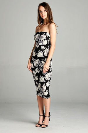 Monochrome Floral Strapless Bodycon Mini Tube Dress