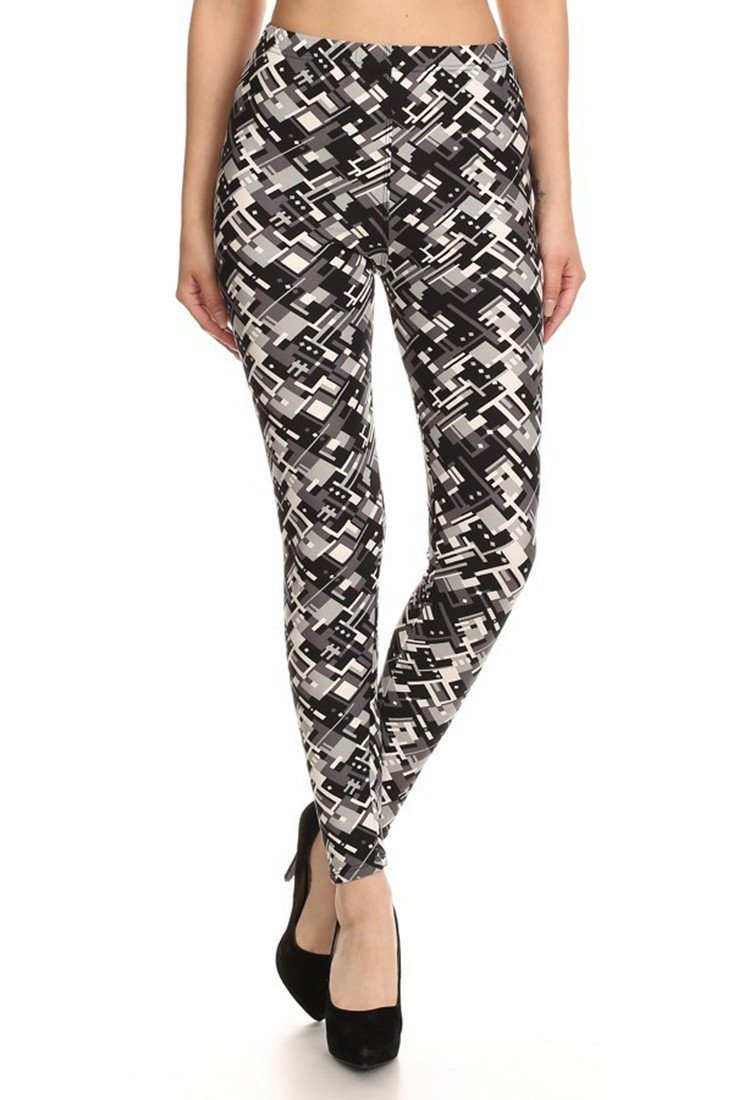Black Abstraction Graphic Print Lined Leggings leggings- Niobe Clothing