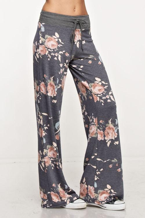 Rose Floral Print Casual Lounge Pants pants- Niobe Clothing