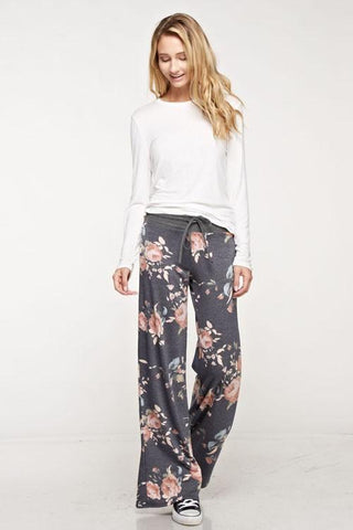 Rose Floral Print Casual Lounge Pants