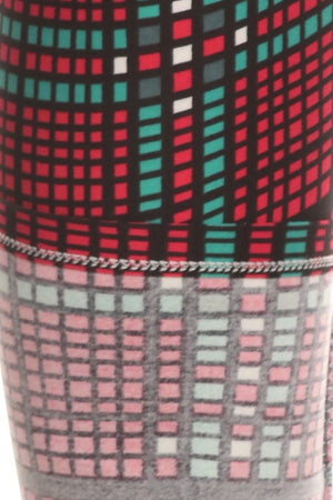 Red Green Pixel Design Leggings