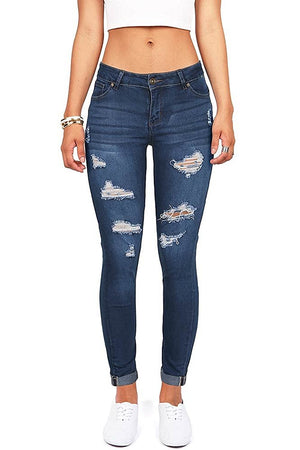 Distressed Slim Fit Stretchy Skinny Jeans pants- Niobe Clothing
