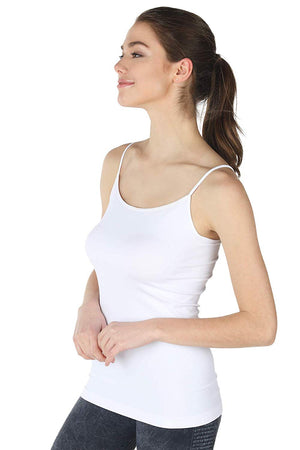 Nylon Long Spaghetti Strap Tank Top Camisole-Tops-Niobe Clothing