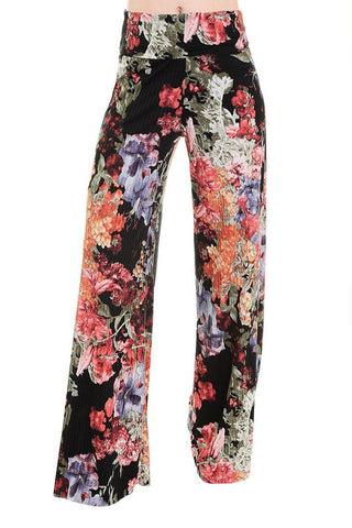 High Waist Fold Over Wide Leg Gaucho Palazzo Pants (Pleated Floral)