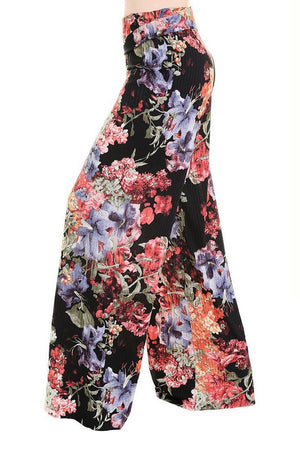 High Waist Fold Over Wide Leg Palazzo Pants (Pleated Floral)