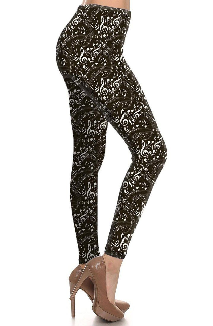 Musical Inspiration Graphic Print Lined Leggings leggings- Niobe Clothing