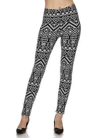 Black Tribal Brush Design Plus Size Leggings leggings- Niobe Clothing