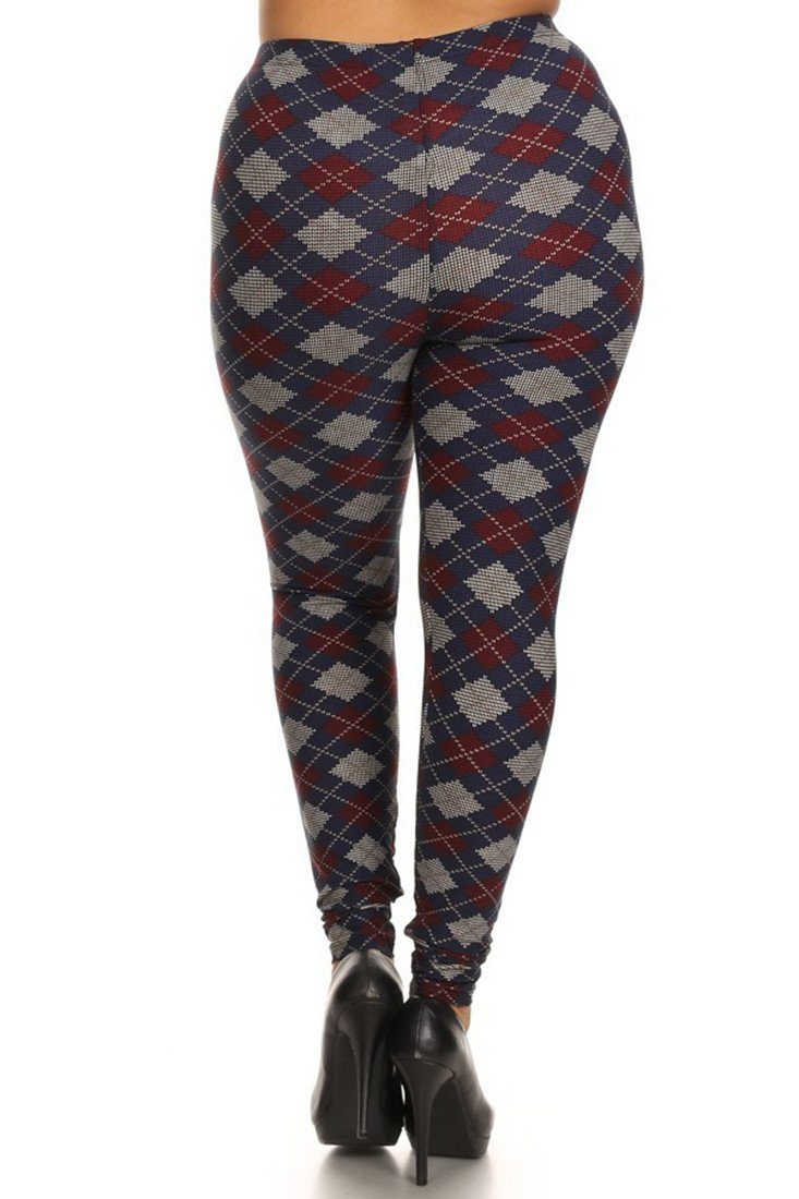 Navy Burgundy Argyle Design Plus Size Leggings leggings- Niobe Clothing