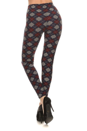 Navy Burgundy Argyle Graphic Print Lined Leggings