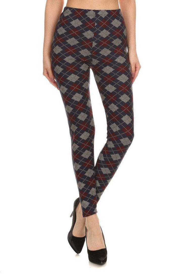Navy Burgundy Argyle Graphic Print Lined Leggings leggings- Niobe Clothing