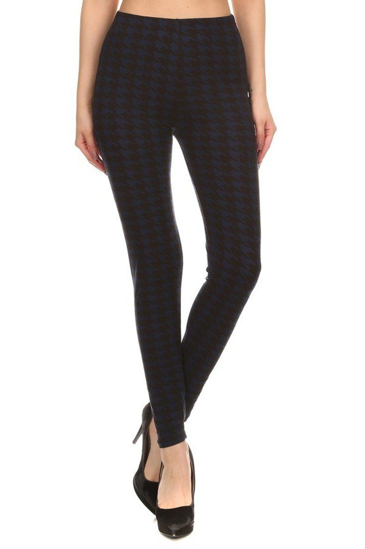Navy Black Geo Graphic Print Lined Leggings