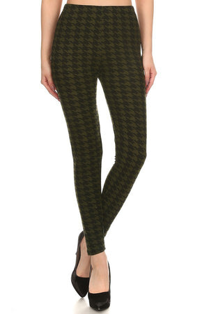 Olive Black Geo Graphic Print Lined Leggings-leggings-Niobe Clothing