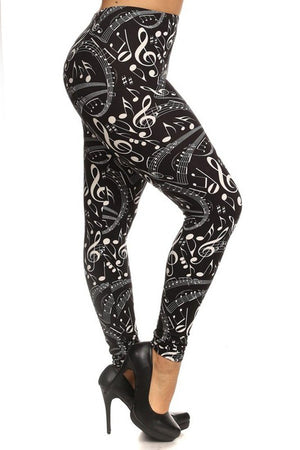 Musical Inspiration Graphic Print Lined Plus Size Leggings
