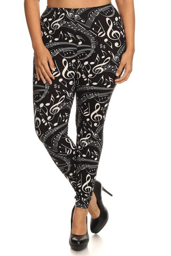 Musical Inspiration Graphic Print Lined Plus Size Leggings leggings- Niobe Clothing