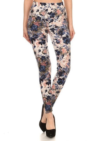 Floral Garden Graphic Print Lined Leggings leggings- Niobe Clothing