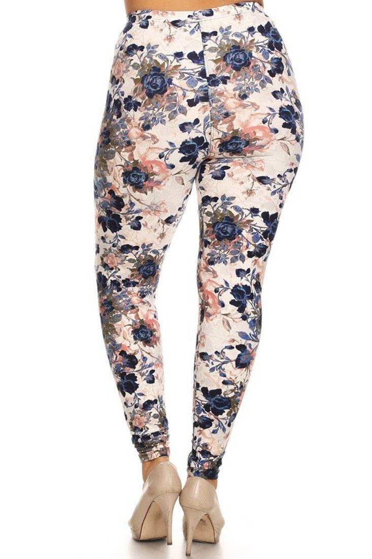 Floral Garden Design Plus Size Leggings leggings- Niobe Clothing