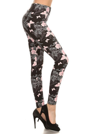 Soft Pink Butterflies Graphic Print Lined Leggings