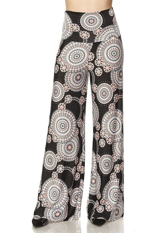 High Waist Fold Over Wide Leg Gaucho Palazzo Pants (Spiral Geo)