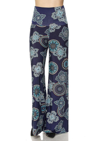 High Waist Fold Over Wide Leg Palazzo Pants (Multi Starfruit) pants- Niobe Clothing
