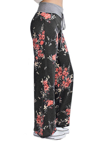 Flowered Casual Lounge Pants in Charcoal pants- Niobe Clothing