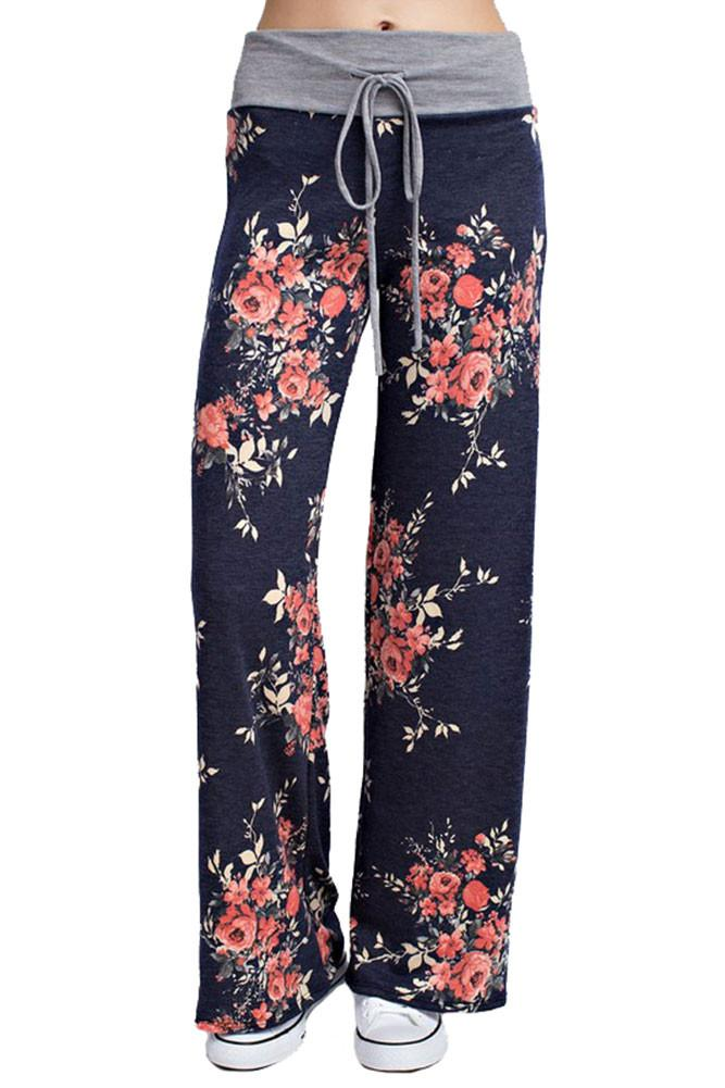 Flowered Casual Lounge Pants in Navy pants- Niobe Clothing