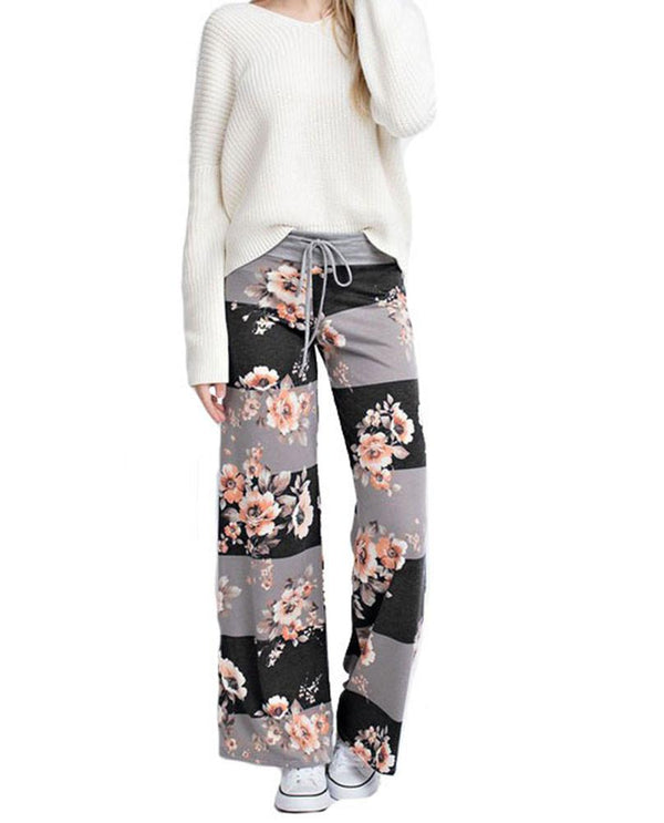 Striped Bloom Casual Lounge Pants in Charcoal pants- Niobe Clothing
