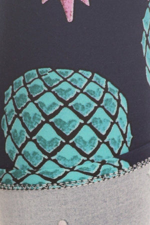 Underwater Pineapple Design Leggings-leggings-Niobe Clothing