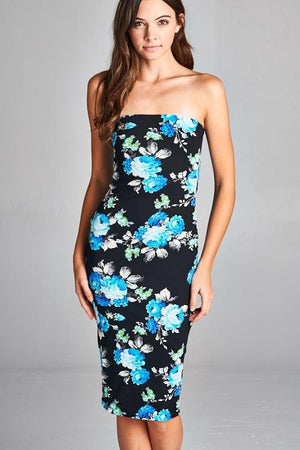 Black/Blue Peony Strapless Bodycon Mini Tube Dress dress- Niobe Clothing