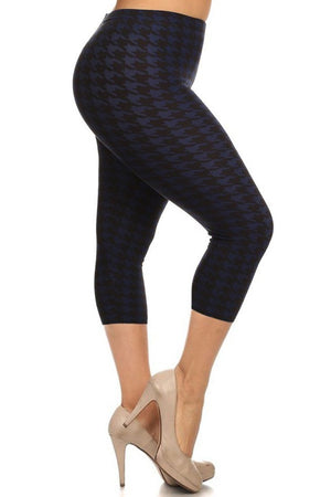 Black/Navy Houndstooth Design Plus Size Capri Leggings leggings- Niobe Clothing