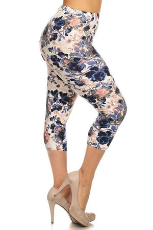 Floral Garden Design Plus Size Capri Leggings leggings- Niobe Clothing