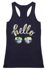 Hello Racerback Tank Top in Navy Tops- Niobe Clothing