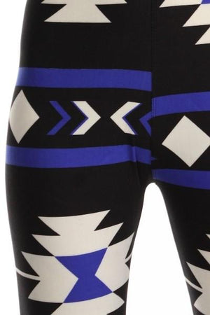 Royal Aztec Design Plus Size Leggings-leggings-Niobe Clothing