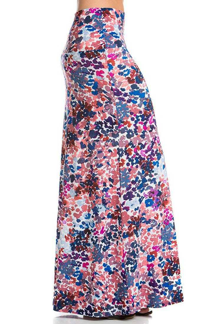 Watercolor Splash Printed Maxi Skirt