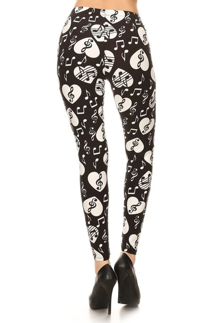 Music Lover Graphic Print Leggings leggings- Niobe Clothing