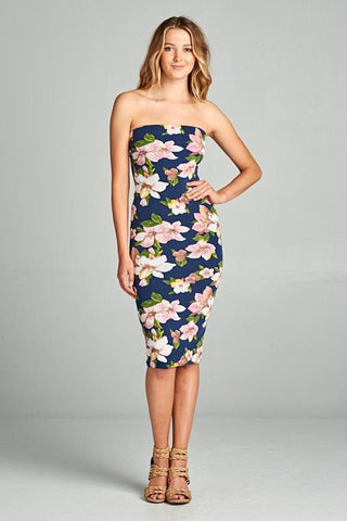 Navy/Pink Balloon Flower Print Strapless Bodycon Mini Tube Dress