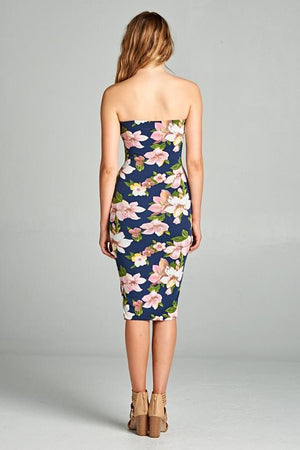 Navy/Pink Balloon Flower Print Strapless Bodycon Mini Tube Dress dress- Niobe Clothing