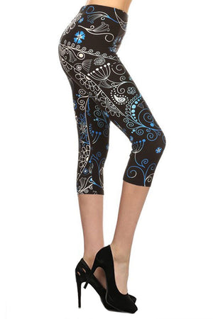 Blue Lumos Plus Size Capri Leggings leggings- Niobe Clothing