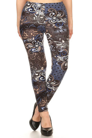 Blue Bronze Fleur Design Plus Size Leggings leggings- Niobe Clothing
