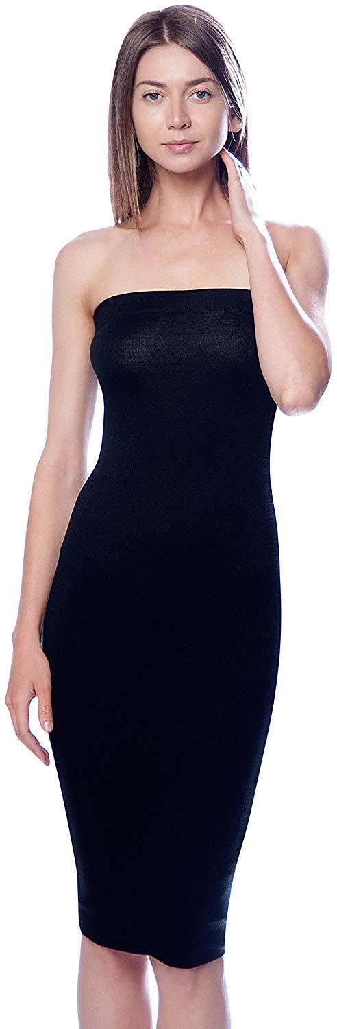Solid Color Strapless Bodycon Mini Tube Dress dress- Niobe Clothing