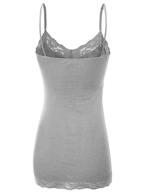 Basic Solid Lace Trim Cami Tank Slip Tops- Niobe Clothing