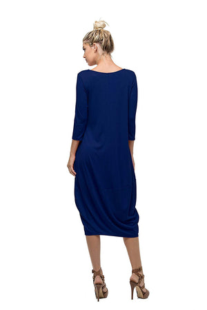 3/4 Sleeve Bubble Hem Pocket Midi Dress with Pockets dress- Niobe Clothing