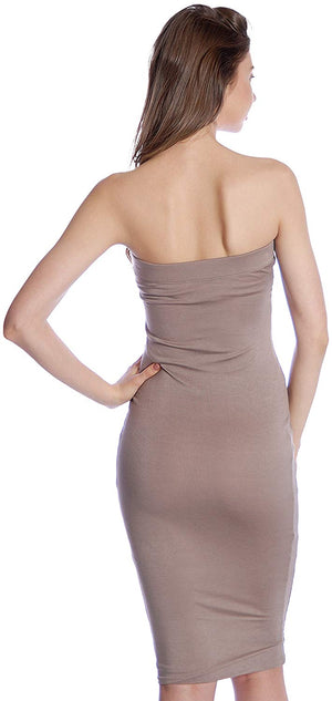 Solid Color Strapless Bodycon Mini Tube Dress