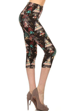 Multicolor Tribal Design Plus Size Capri Leggings-leggings-Niobe Clothing