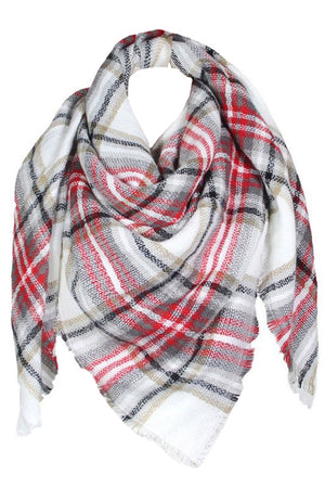 Red Checker Blanket Scarf
