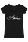 Aloha Scoop Neck Shirt in Black