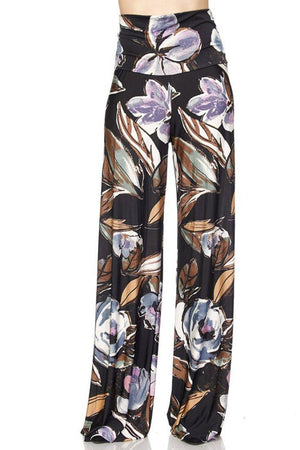 High Waist Fold Over Wide Leg Palazzo Pants (Autumn Evening) pants- Niobe Clothing